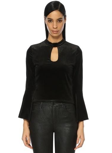 Wyldr Önü Pencere Detaylı Kadife Bluz Siyah